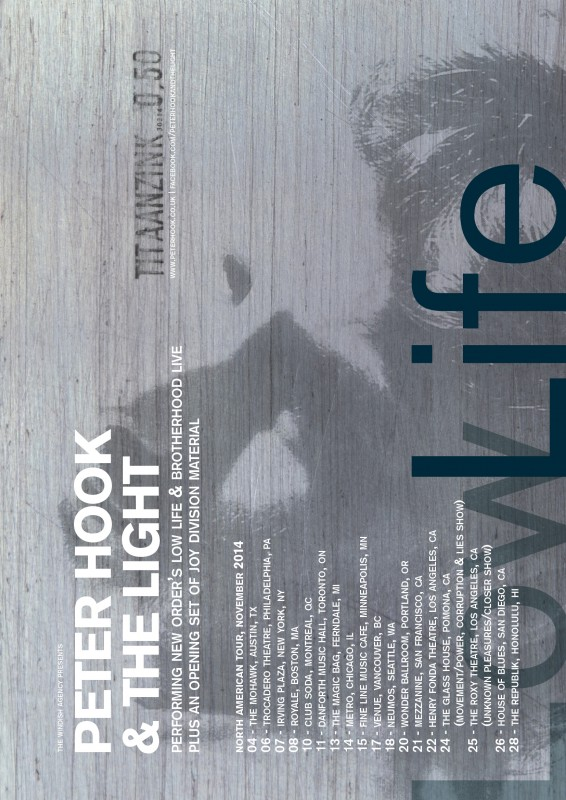 Peter Hook And The Light US Tour Poster Nov 2014