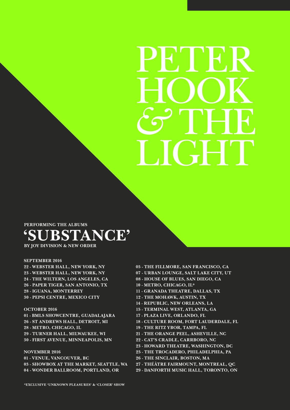 "Peter Hook & the Light Returning to Tour the United States – Will Play Both New Order & Joy Division Versions of ""Substance"" in Their Entirety"